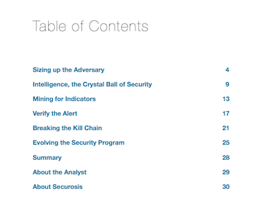 The CISO's Guide to Advanced Attackers Table of Contents