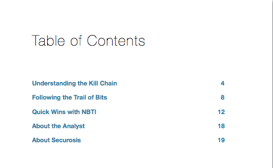 Network-based Threat Intelligence Table of Contents