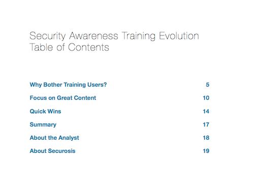 Security Awareness Training Evolution ToC