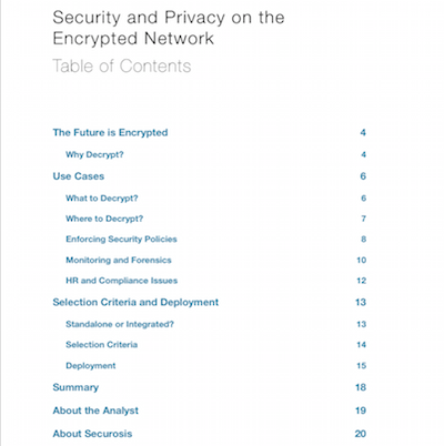 Security and Privacy on the Encrypted Network Table of Contents
