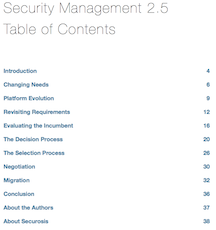 Security Management 2.5: Replacing Your SIEM Yet? Table of Contents